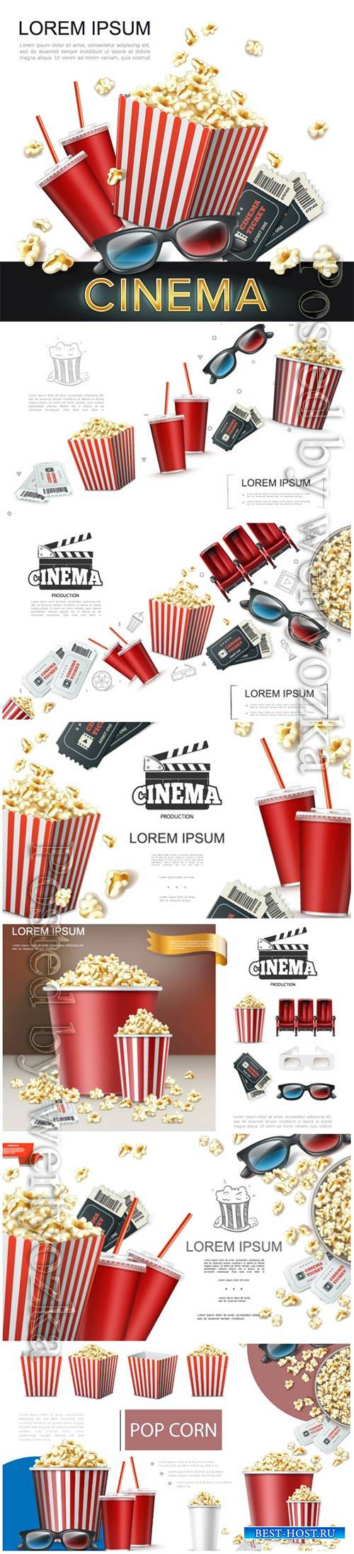 Realistic cinema elements vector background