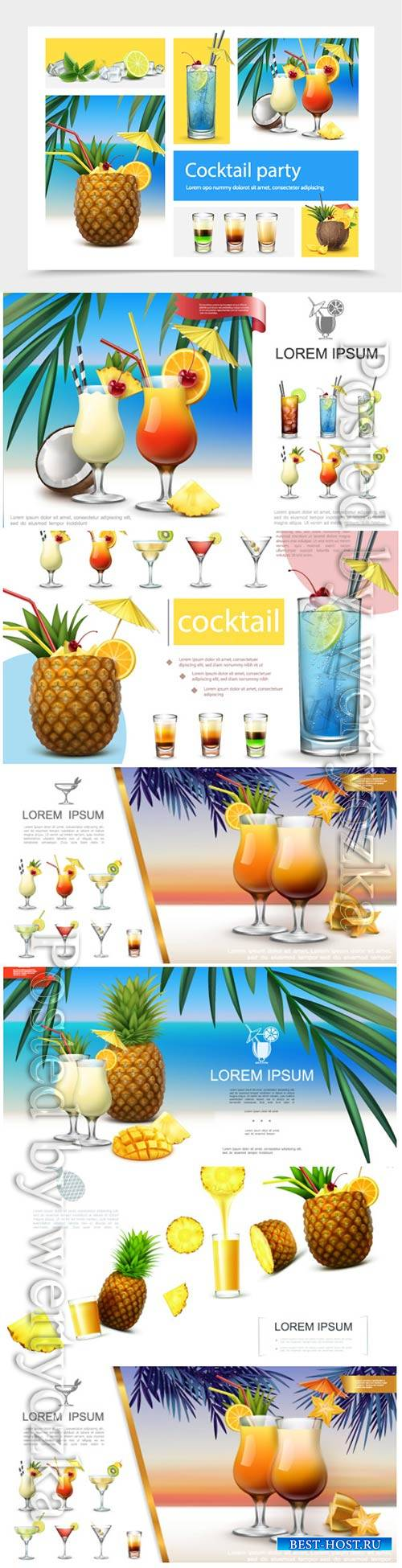 Realistic, summer, cocktails, vector, collection