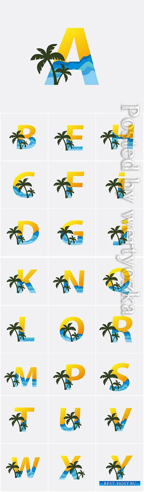 Palm beach letter logo vector illustration