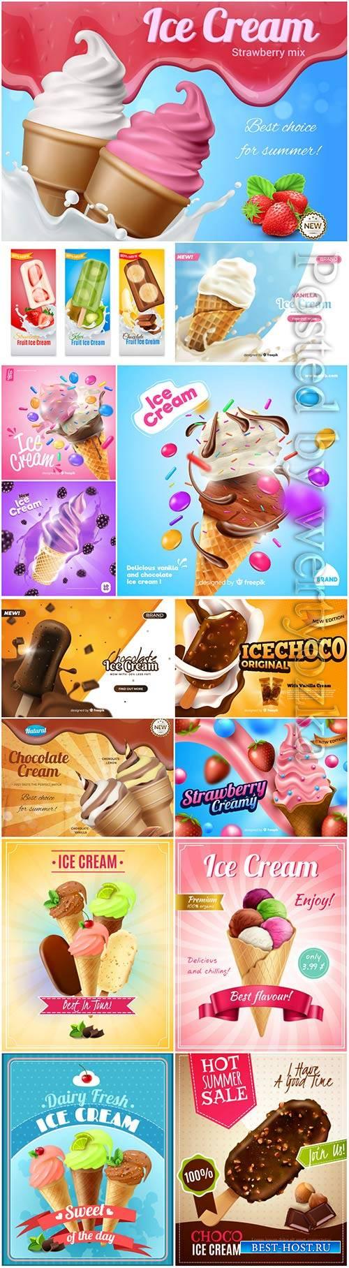 Ice cream big vector set