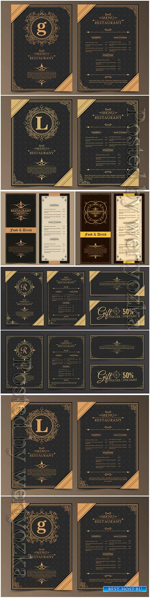 Menu layout with ornamental elements