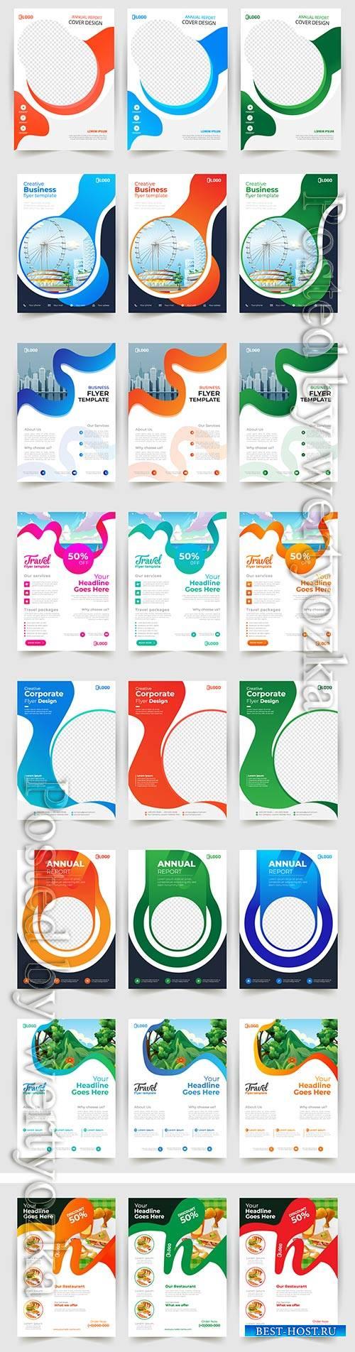 Business flyer template design, brochure vector illustration # 5