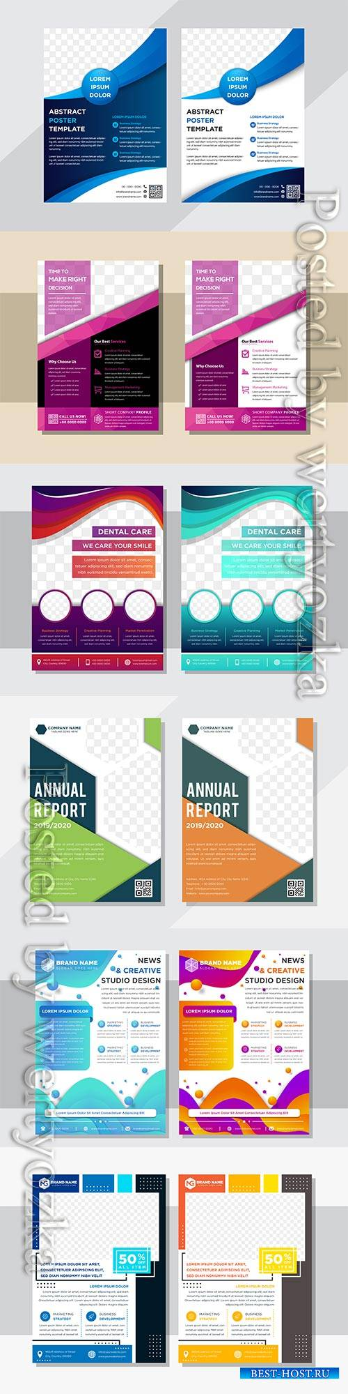 Business flyer template design, brochure vector illustration # 3