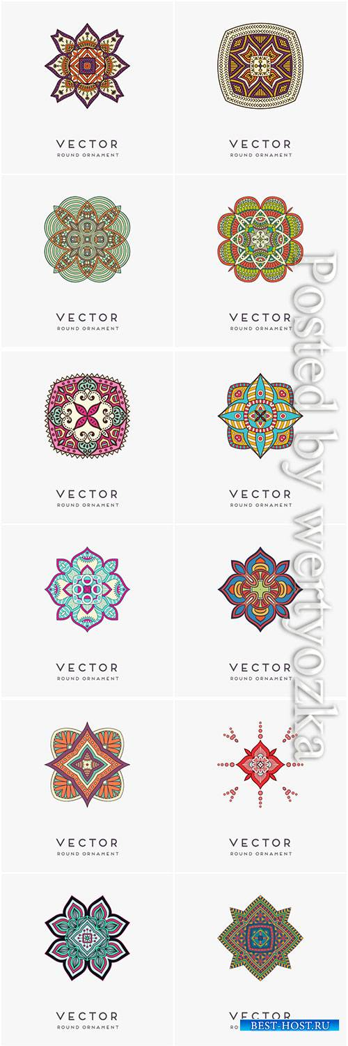 Decorative hand drawn mandala vector illustration # 15