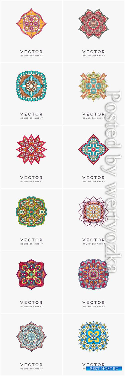 Decorative hand drawn mandala vector illustration # 14