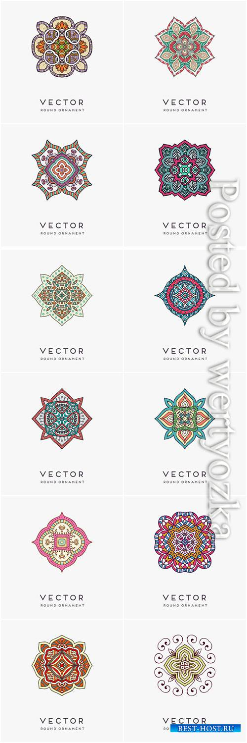 Decorative hand drawn mandala vector illustration # 13