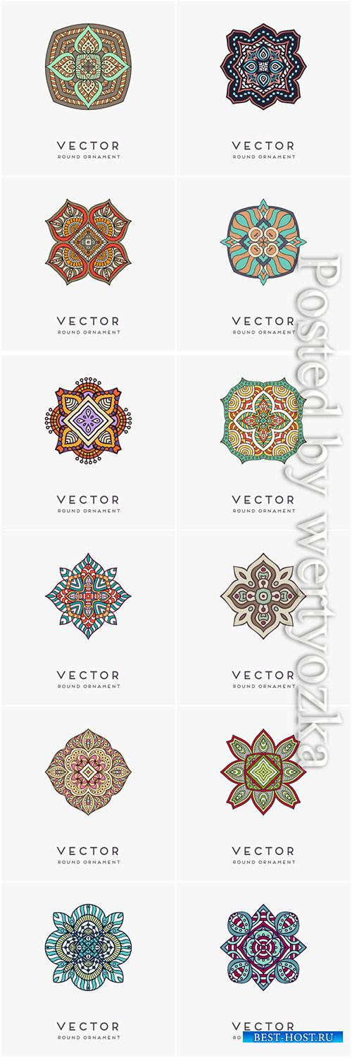Decorative hand drawn mandala vector illustration # 12