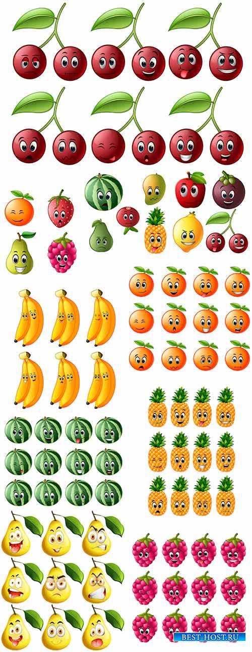 Ягоды и фрукты. Эмоции - Векторный клипарт