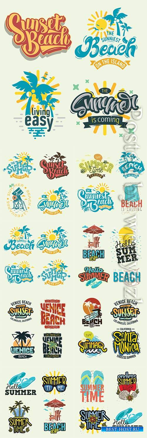 Summer time beach life vector illustrations