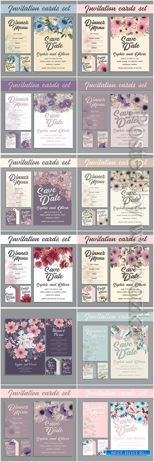 Wedding invitation card with flowers vector illustration
