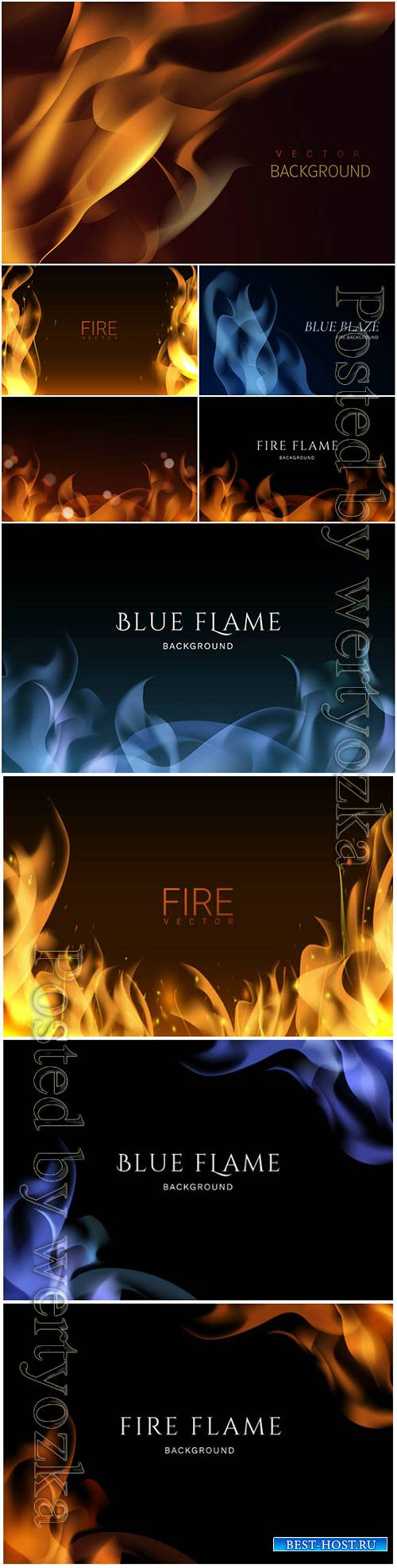 Burning flame vector background