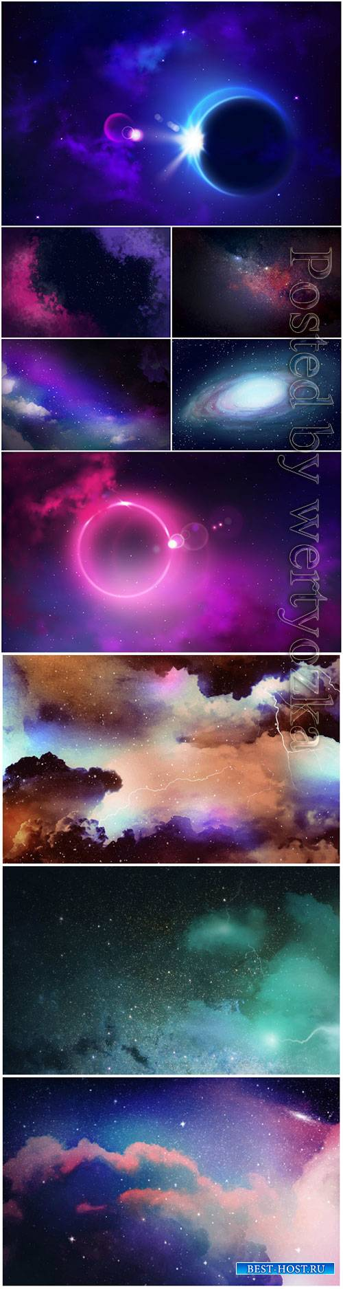 Sky galaxy, glowing stars, astronomy, cosmic vector background