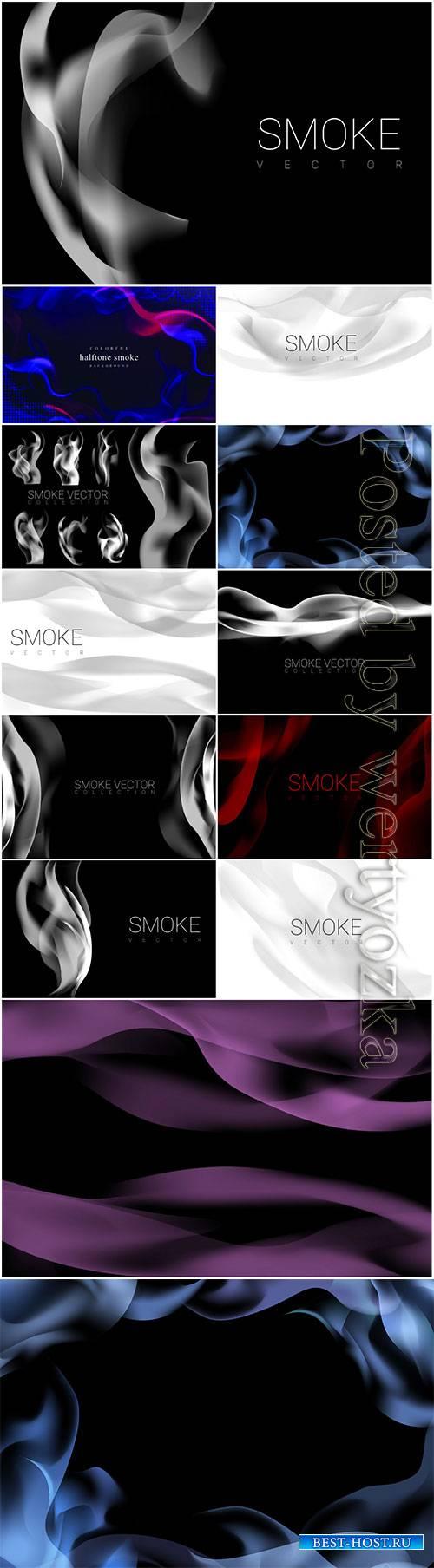 Set of smoke vector background