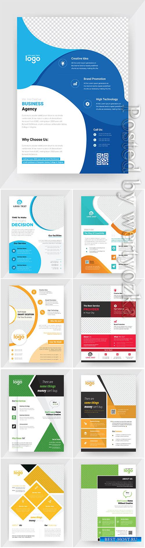 Annual report concept flyer vector template, brochure flat design