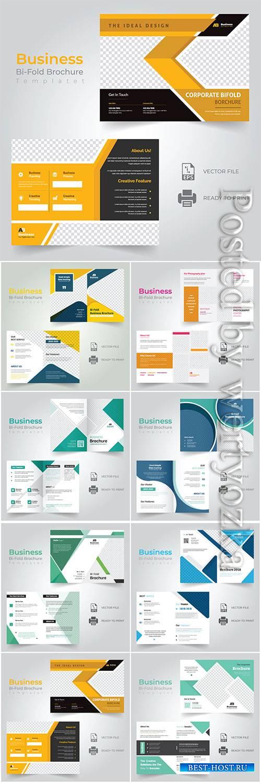 Bi-fold vector brochure template design, business concept