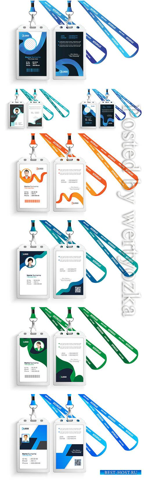 Id vector card with lanyard set isolated illustration