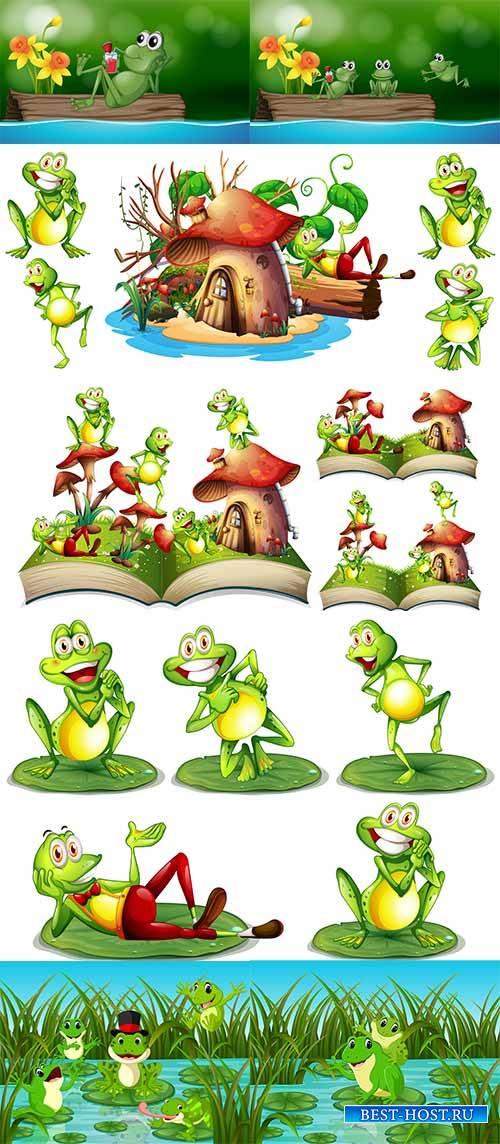 Весёлые лягушки-квакушки - Векторный клипарт