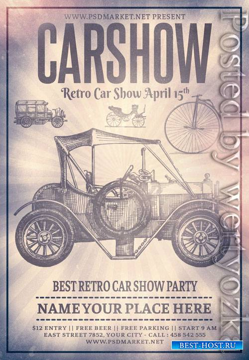 Retro car party - Premium flyer psd template
