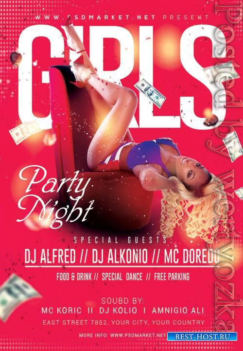 Girls party night - Premium flyer psd template