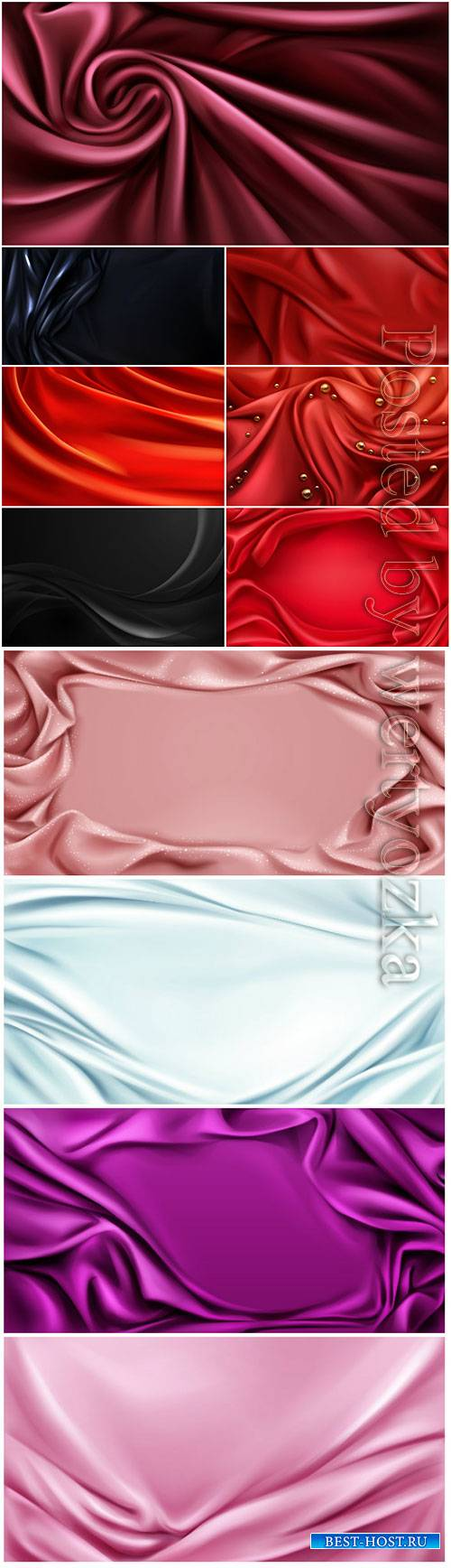 Silk folded fabric vector background luxurious cloth