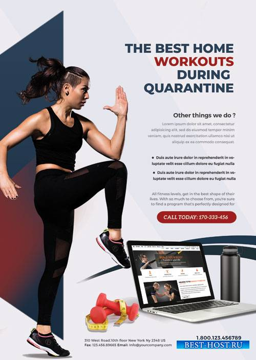 Online Personal Training Workouts - Premium flyer psd template