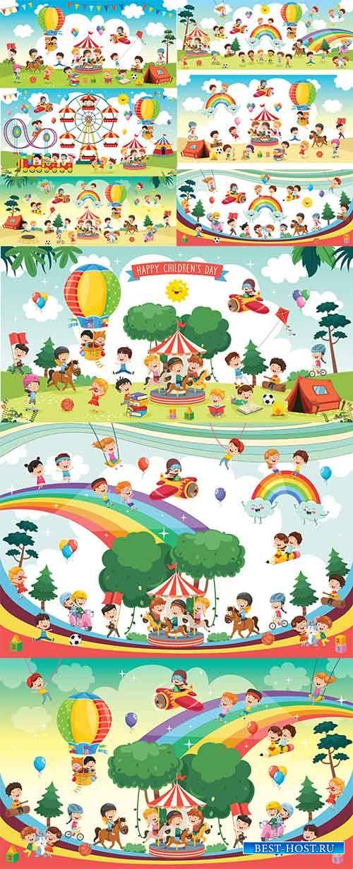 Счастливые дети на природе - Векторный клипарт