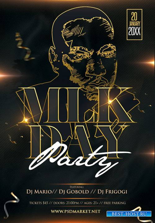 Mlk day party - Premium flyer psd template