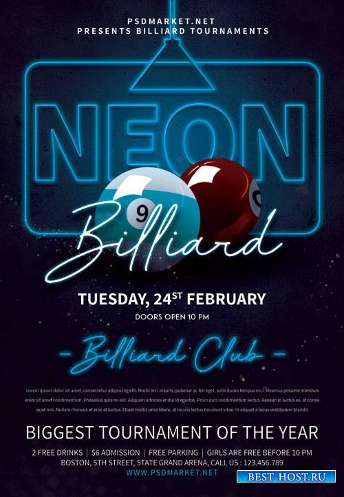 Neon billiard night - Premium flyer psd template