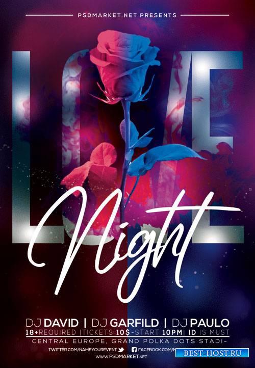 Love night event - Premium flyer psd template