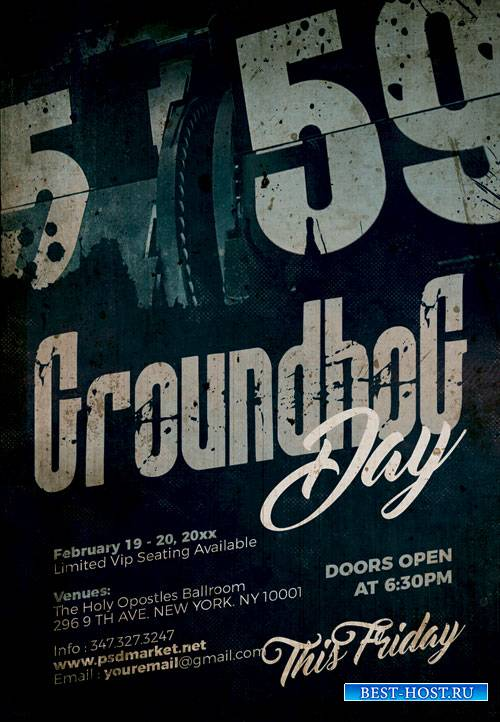 Groundhog day party - Premium flyer psd template