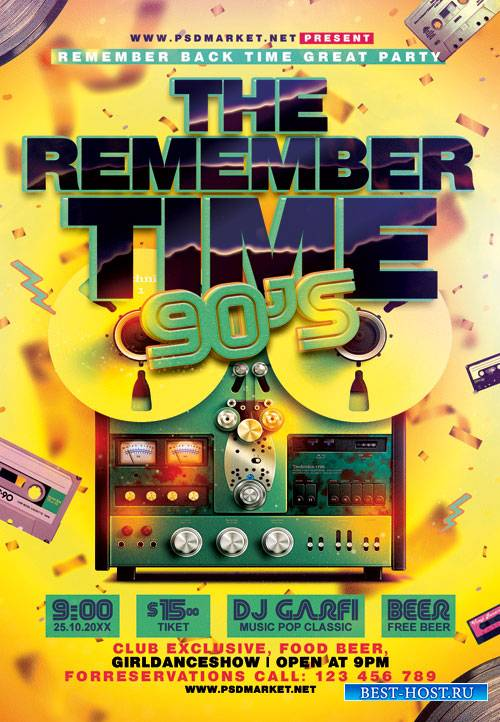 Remember time 90s - Premium flyer psd template