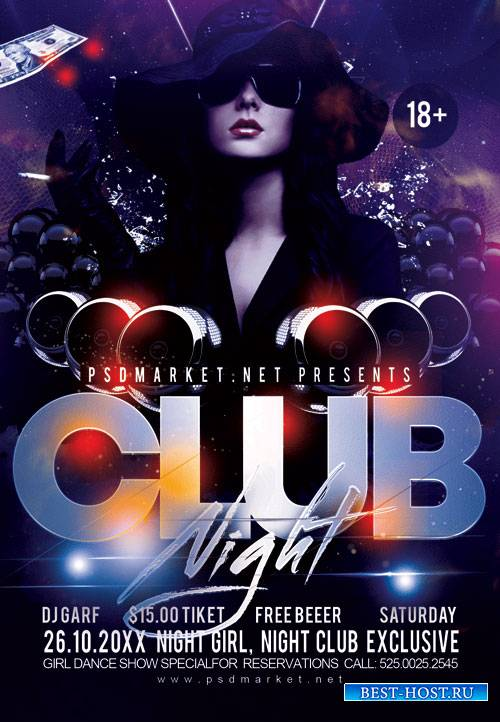 Club night party event - Premium flyer psd template