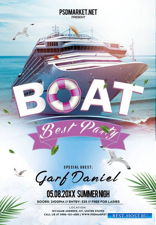 Boat party night - Premium flyer psd template