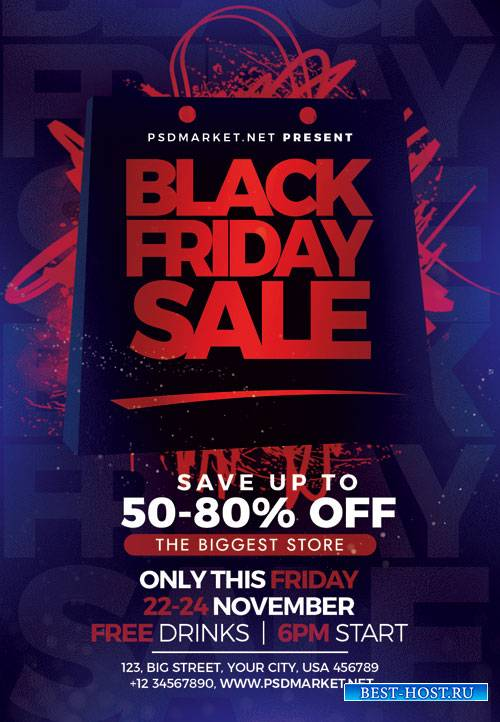 Black friday night - Premium flyer psd template