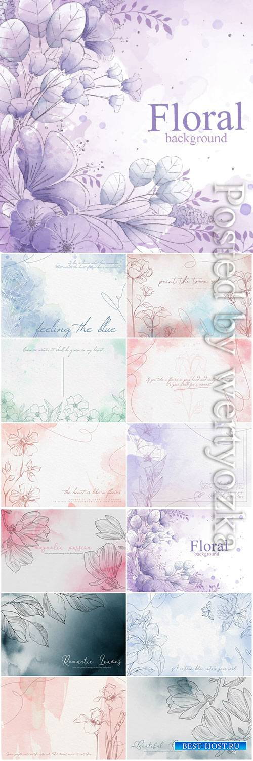 Watercolor flowers vector background in pastel colors