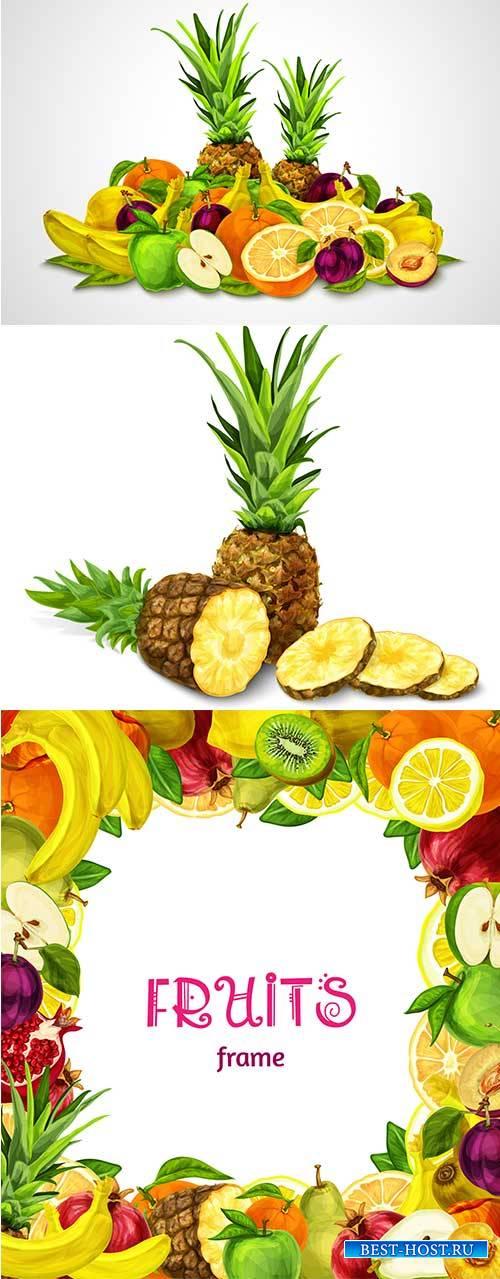 Фоны с экзотическими фруктами - Векторный клипарт