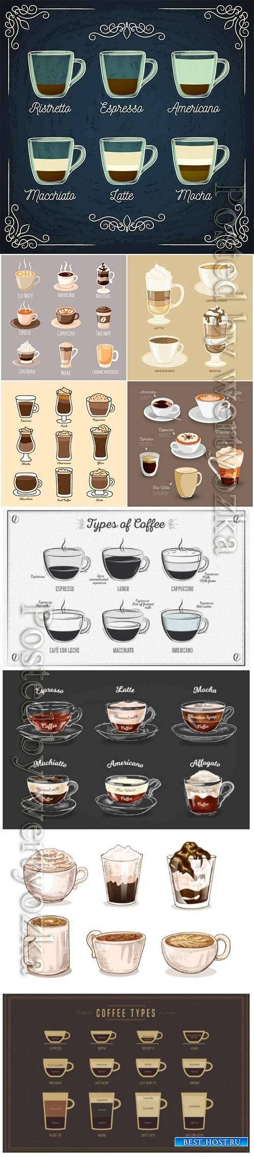 Vintage vector coffee types concept