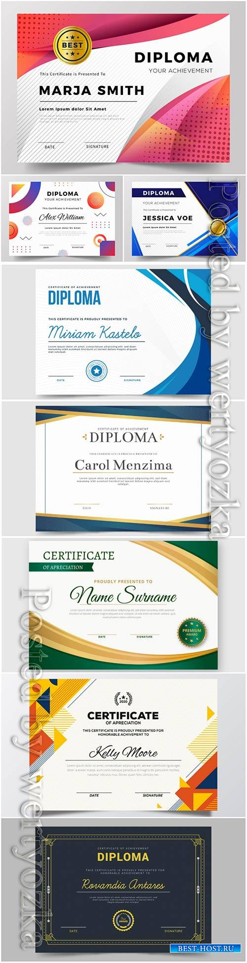 Vector diploma vector set template