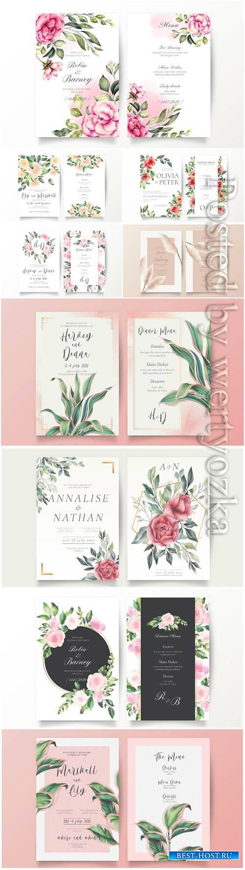 Vector wedding cards vector set