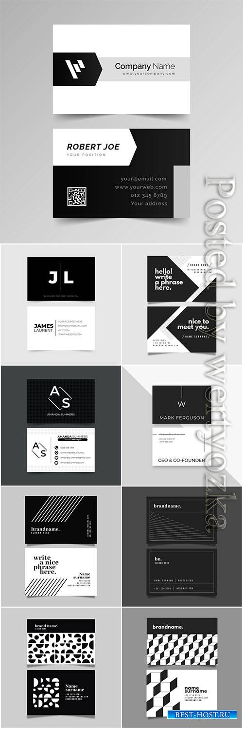 Monochrome template for business cards vector set
