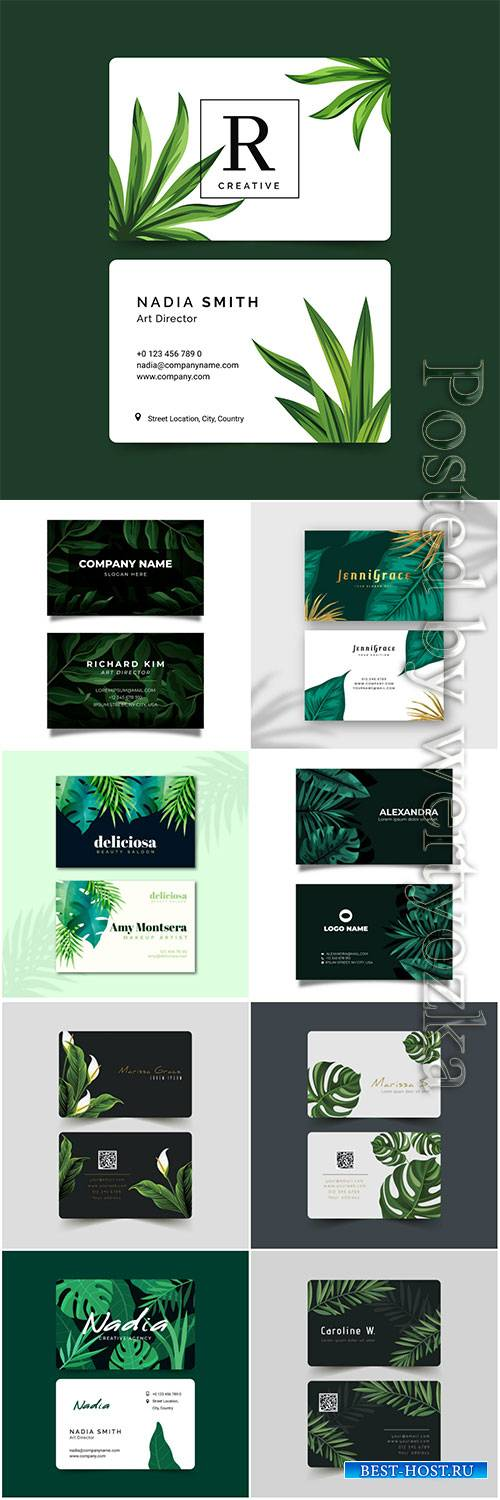 Business card with natural motifs pack vector set
