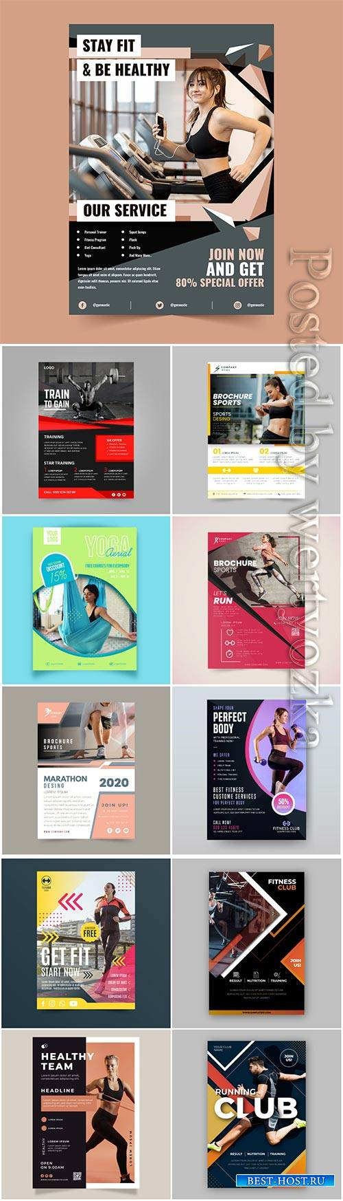 Sport flyer vector collection illustration