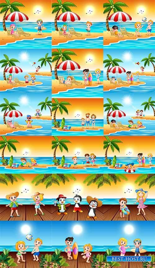 Дети отдыхают на море - Векторный клипарт
