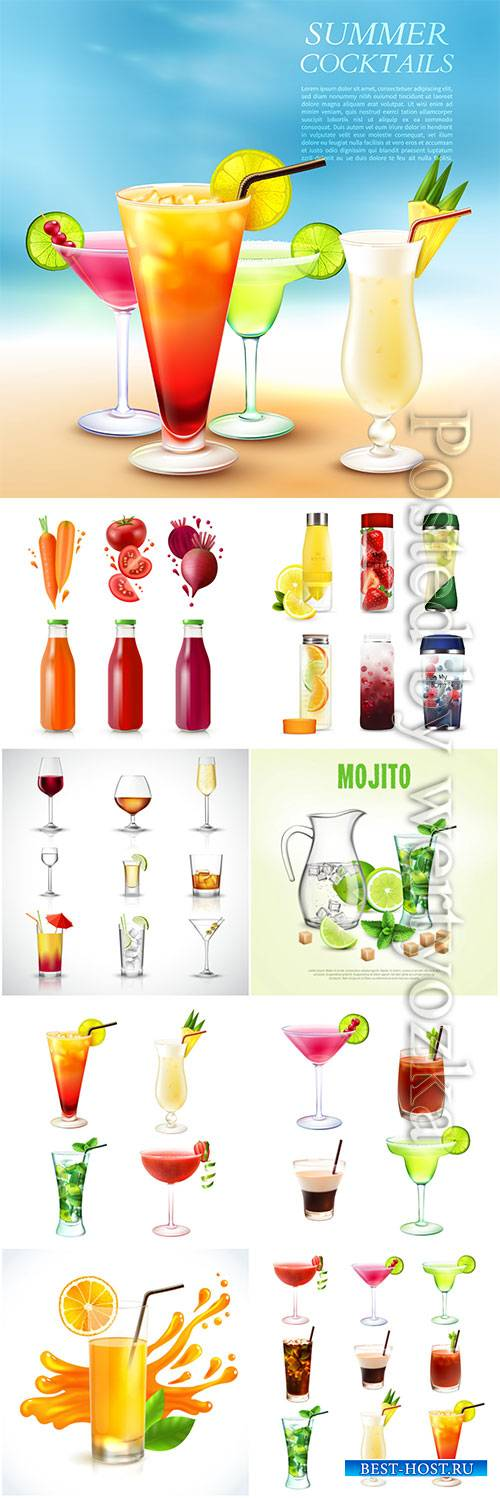 Cocktails, fresh juices and drinks vector illustration