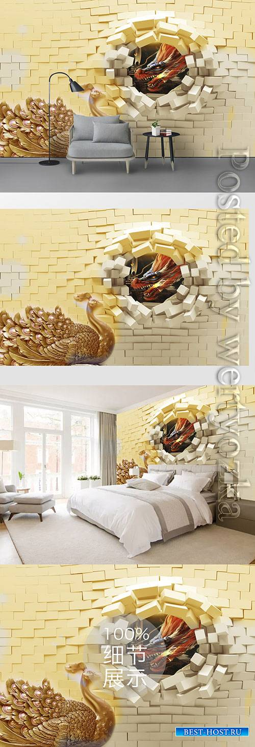 3D models template golden peacock and brick wall