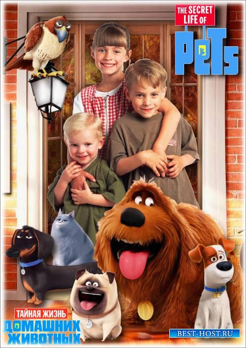 Детская рамка для фотошопа - Любимые сказочные герои мультфильмов 12. Тайная жизнь домашних животных