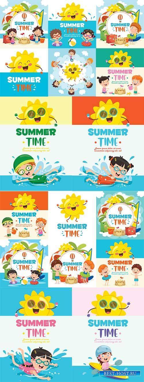 Лето - тёплое время года - Векторный клипарт