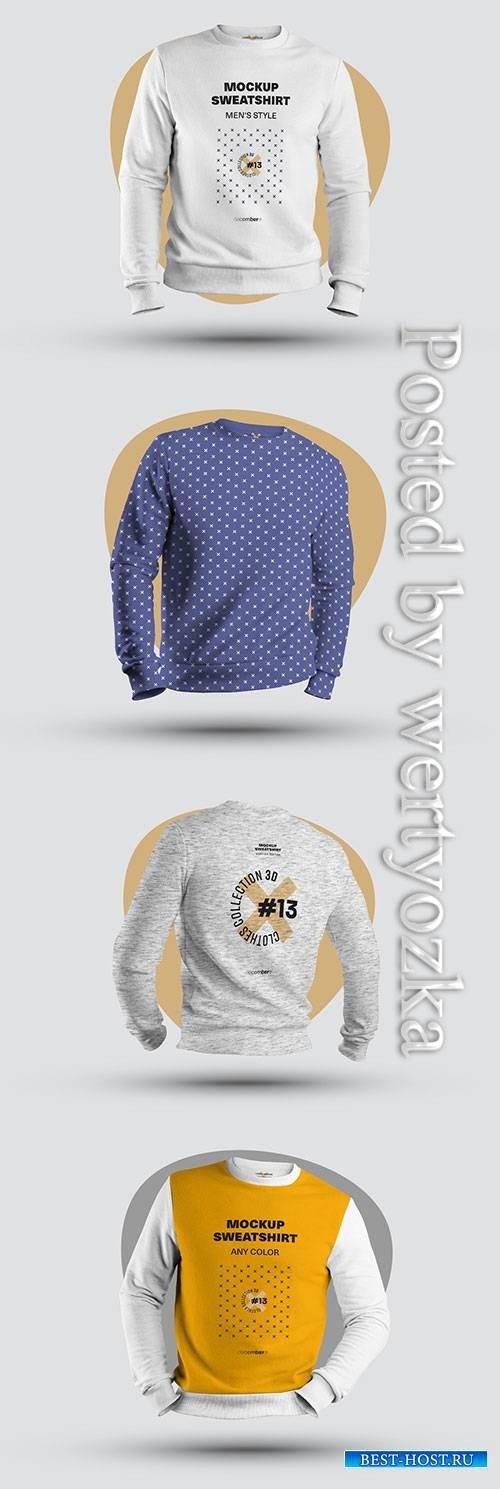 4 Mockups of Men's 3D Sweatshirts