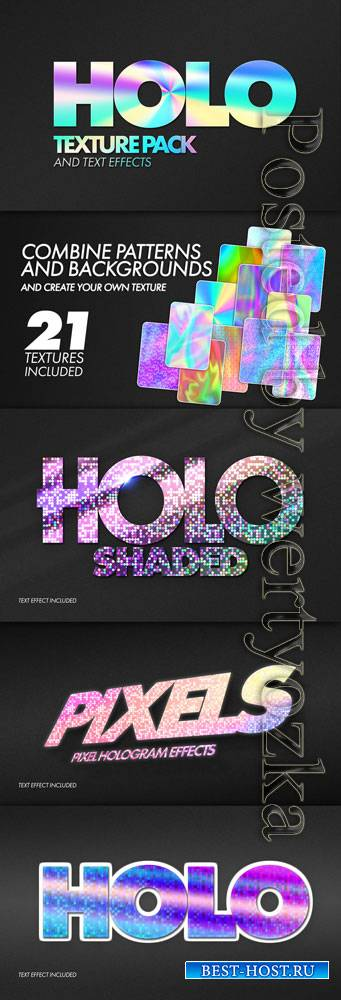 Holographic Texture Text Effect Mockup Bundle