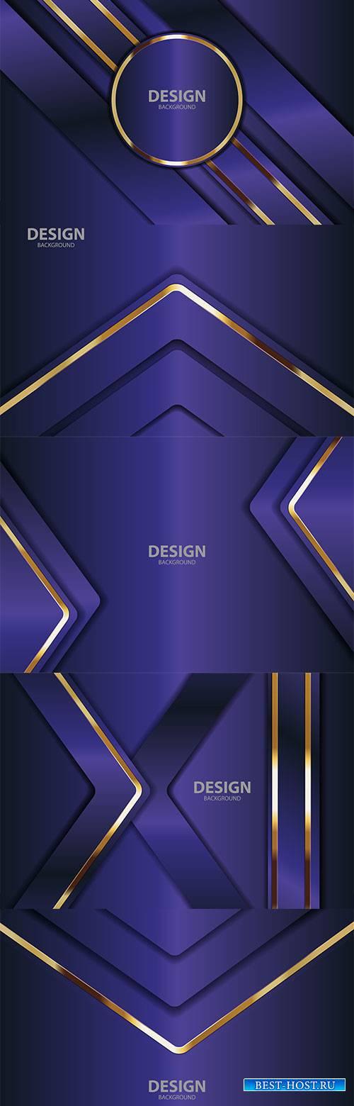 Фиолетовые фоны с абстрактными золотыми линиями в векторе